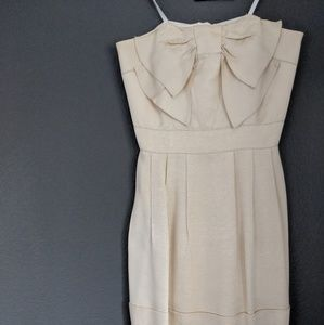 Anthropologie sleeveless cream bow dress size 4